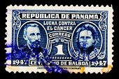 PANAMA - CIRCA 1947: A postage stamp printed in Panama, shows a Pierre Curie and Marie Curie, circa