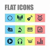 Audio Icons Set With Play, Headset, Folder And Other Lyre Elements. Isolated Vector Illustration Aud poster