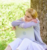 Woman Dreamy With Laptop Work Outdoors. Minute For Dream. Technology And Internet Concept. Dream Abo poster