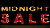 Midnight Sale Background. Brightly Colored Vintage Advertising Sign Board With Illumination poster