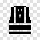 Signal Vest With Reflective Stripes On A Transparent Background. Vector Illustration poster