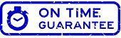 Grunge Blue On Time Guarantee Word With Stopwatch Icon Square Rubber Seal Stamp On White Background poster