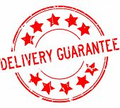 Grunge Red Delivery Guarantee Word With Star Icon Round Rubber Seal Stamp On White Background poster