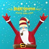 Vector Rock N Roll Santa Claus With Smoking Pipe, Santa Beard And Funky Santa Hat. Christmas Hipster poster