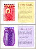Canned Strawberries And Blueberries In Jars Banners Set. Preserved Berries Inside Glass Containers B poster