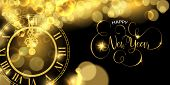 Happy New Year Luxury Golden Web Banner Illustration, Clock Marking Midnight Time On Black Backgroun poster