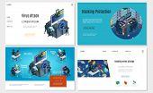 Isometric Hacker Activity Websites Set With Computer Password Mail Datacenter Hacking Virus Trojan A poster