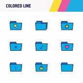 Illustration Of 9 Document Icons Colored Line. Editable Set Of Protection, Checked Folder, Delete Fo poster