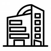 Rounded Skyscrapers Line Icon. Office Building With Rounded Roof Vector Illustration Isolated On Whi poster