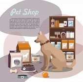 Pets Accessories In The Pet Store With Dog . Pet Shop poster