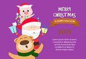 Merry Christmas And Happy New Year Sample Purple Banner Design. Inscription With Bear, Santa And Pig poster