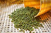 Mung Beans Or Green Beans On Bamboo Threshing Basket With Mung Beans Seed poster