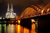 stock photo of koln  - Rhine and Dom of Cologne - JPG