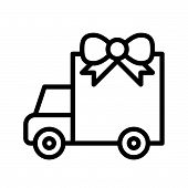 Truck With Giftbox Vector, Christmas Related Line Design Icon poster