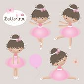 Vector Set With Cute Little Ballerinas. Vector Little Ballerinas In Pink Tutu Dresses. poster