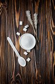 Top View Of White Granulated And Cubes Sugar With Crystal Sugar Stick poster