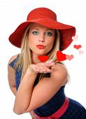 stock photo of heart valentines  - young beautiful woman blowing kissed to her valentines - JPG