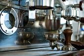For Making Espresso. Coffee Machine Parts. Portafilter Of Machine With Tamper. Coffee Maker In Coffe poster