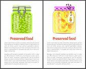 Preserved Food Banners, Fruits And Berries. Ripe Green Grapes, Pineapple Rings In Juice Inside Glass poster