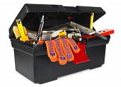 Toolbox with instruments on white background