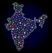 Glossy Polygonal Mesh Map Of India With Glare Effect. Vector Carcass Map Of India With Glowing Multi poster