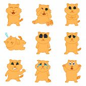 Emotions Cat. Set Icons Of Emotions Cat In Flat Style. Collection Stickers Emotions. Emotion Cat Vec poster