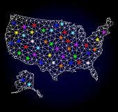 Glossy Polygonal Mesh Map Of Usa And Alaska With Glare Effect. Vector Carcass Map Of Usa And Alaska  poster