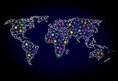 Glossy Polygonal Mesh Map Of World With Glare Effect. Vector Carcass Map Of World With Glowing Multi poster