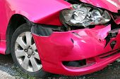 Pink Car Accident Damaged To Headlights Front, Broken Headlights Car Crash Accident, Damaged Automob poster