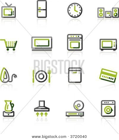 Green-Gray Household Appliances Icons
