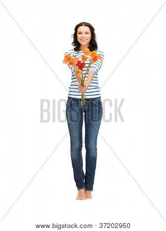 bright picture of beautiful woman with flowers