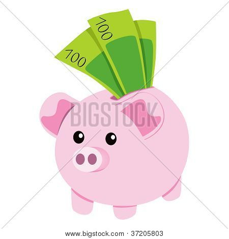 Piggy Bank And Notes