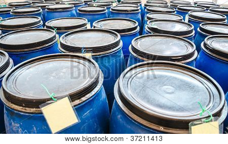 Blue Plastic Industrial Barrels