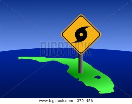 Florida Map With Hurricane Sign
