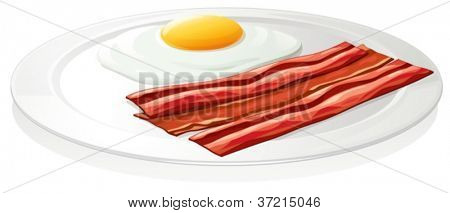 illustration of egg omlet in a dish on a white background