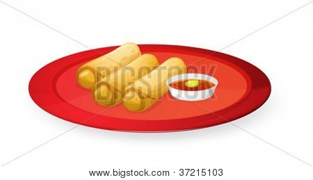illustration of meat rolls in red dish on white
