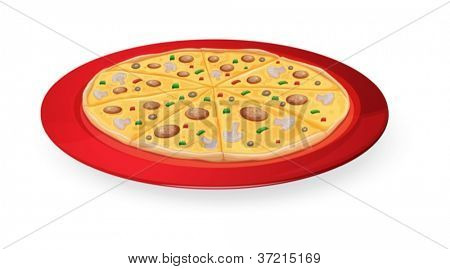 illustration on a pizza in a red dish on white
