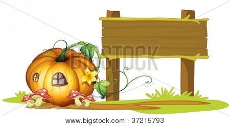 illustration of board and pumpkin house on white