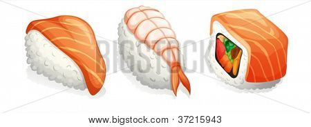 illustration of assorted sushi on a white background