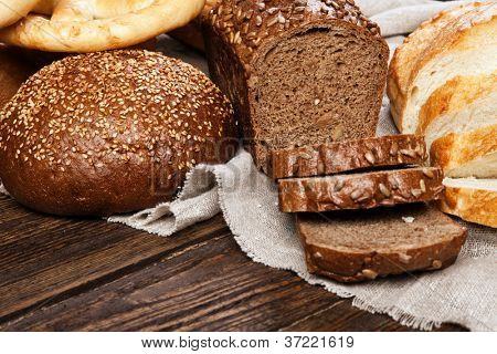 Bread assortment on a wooden table