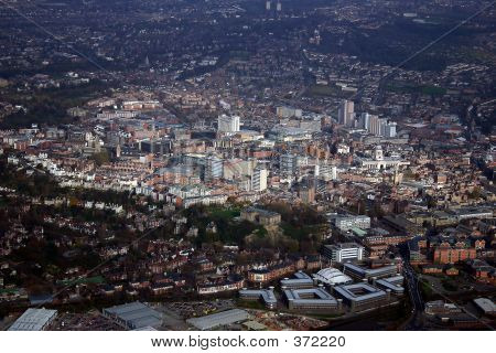 Aerial Of Nottingham City Centre.