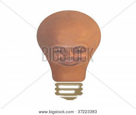 Glühbirne mit Gesicht des Mannes
