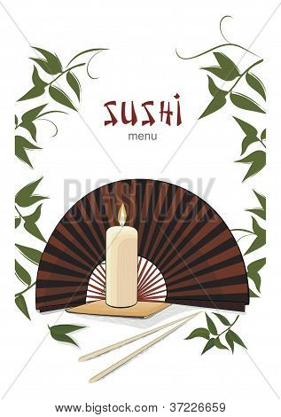 Sushi menu with asian fan and candle