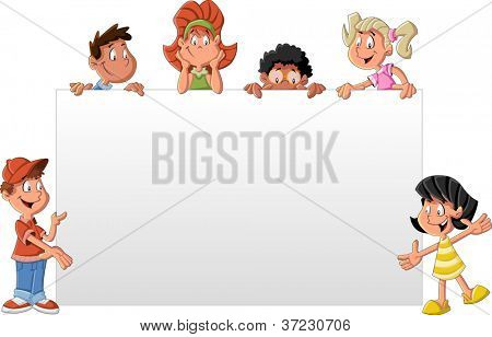 Cartoon children in front of white board. Presentation screen / paper card.
