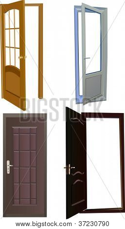 illustration with four doors isolated on white background