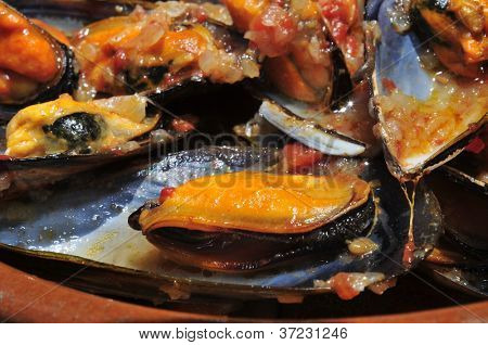 closeup of a plate with mejillones a la marinera, spanish mussels in marinara sauce