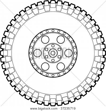 off road tire line art