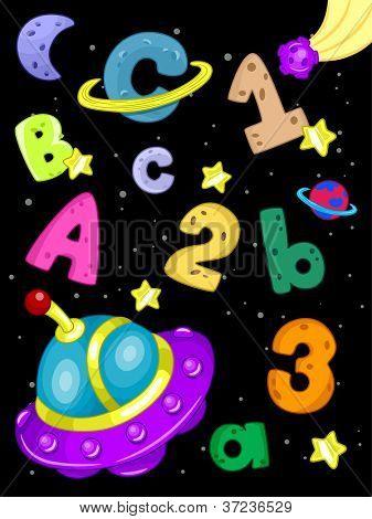 Darstellung von Zahlen und Buchstaben des Alphabets vor ein Weltraum-Hintergrund