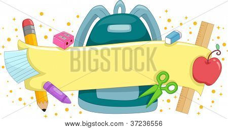 Banner Illustration Featuring a Schoolbag Surrounded by School Supplies