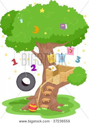 Illustration of a Treehouse With Numbers and Letters of the Alphabet Hanging from its Branches